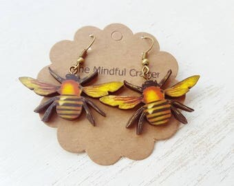 Honey bee earrings. Honeybee earrings. Bumble Bee earrings. Bee jewellery. Beekeeping beekeeper accessory gift bees gardening jewellery