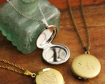 Custom Engraved Locket - Personalized Bridesmaid Gift - Engraved Bridesmaid Necklaces