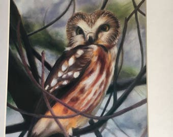 Quietly Watching (matted print of original oil painting)
