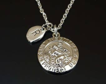 St Christopher Necklace, St Christopher Charm, St Christopher Pendant, St Christopher Jewelry, St Christopher Medal, Saint Christopher Medal