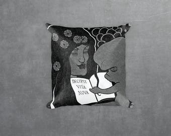 Aubrey Beardsley illustration- Incipit Vita Nova. Decorative Pillow, Square pillow with\ without zipper