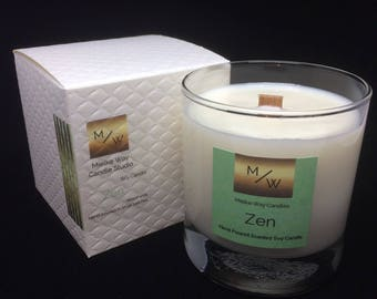 "Hand Poured Spa Scented ""Zen"" 8 Ounce Glass Soy Candle ~ Mielke Candle Co"