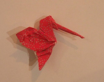 red origami hummingbird pen