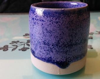 Hand Thrown Indigo Blue Crystalline Glaze Small Ceramic Stoneware Pot