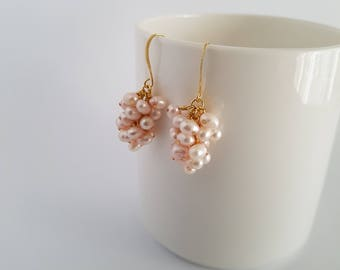 Light pink freshwater pearls, wire wrapped, gold plated cluster earrings.