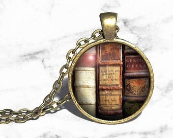 Vintage Books Necklace, Book Spine Jewery, Reader Necklace, Book Necklace, Literature Ring, Reader Gift, Librarian Necklace, Reader Bracelet