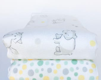 Flannel Cloth Diaper Burp Cloth - Set of 2 - Gender Neutral