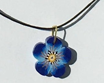Violette Flower pendant from polymer clay