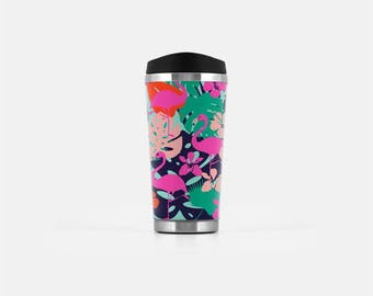 Flamingo Travel Mug, Tropical Travel Tumbler, Tropical Mug, Flamingo Mug, Stainless Steel Mug, To Go Coffee Mug, Modern Travel Mug, 16 oz