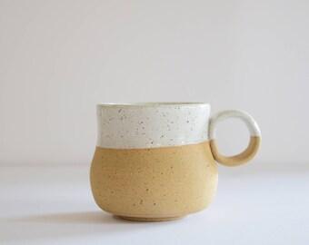 Stoneware Pottery Mug, Handmade Natural Earth-tone exposed clay, White glaze rim