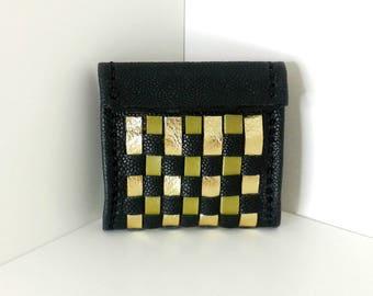 Pop style black leather wallet