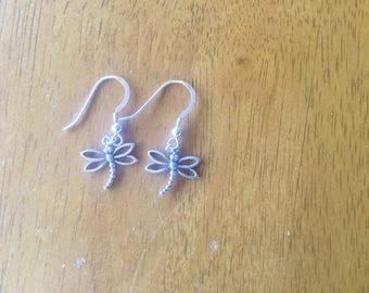 Sterling Silver, Silver Dragon Fly, Earrings.