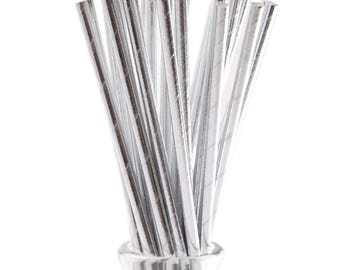 Silver Foil Paper Party Straws, Foil straws, Paper straws, Party Straws, Silver Foil Straws, party decor,party supplies,Silver party straws,