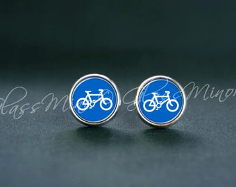 Blue Bicycle Earrings, Tiny Bike Studs, Sport Wanderlust Travel Posts Studs, Cycling Posts Geography, Tiny bike studs, Gift for Her