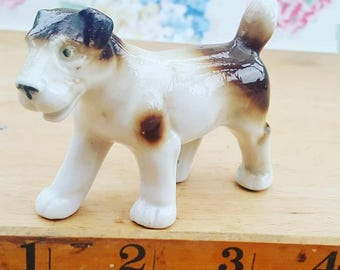 Vintage terrier dog figurine, ornament, glazed. 1940s/50s