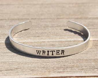 WRITER Bracelet - Old Typewriter Font - Gifts for Writers - Writer Jewelry - Writing - Stamped Bangle Bracelet - One Size Fits All