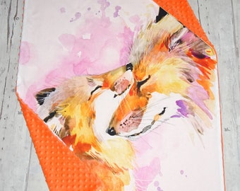 Fox blanket - Animal baby blanket - Unique baby shower gift idea - Foxes nursery blanket - Ready to ship blanket - Bedding blanket -