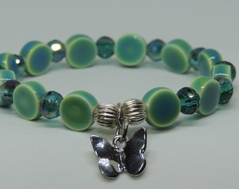 SummerTime Two Tone Green & Pool Blue Beaded Stretch Charm Bracelet