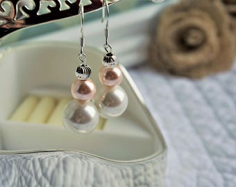 White and Blush Pearl Drop Earrings
