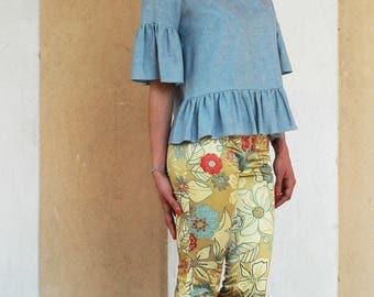 Capri pants, capri pants, flowered pants flared cotton pants, stretch pants, capri trousers, floral trousers