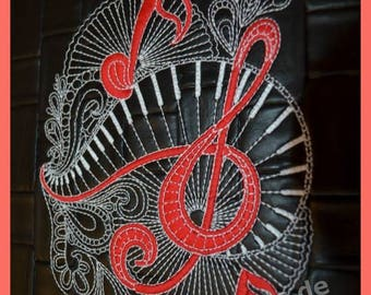 La musica embroidery, embroidery motif in two sizes, machine embroidery, embroidery, music, Zentangle