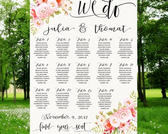 Wedding Seating Chart,Poster wedding, Seating Chart, Wedding Card, Wedding Table seating assignment, Gold table plans , Find Your Seat SC007