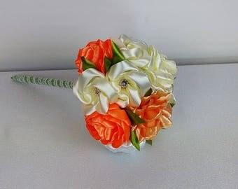 Bouquet of marriage orange, cream and beige/Bridal Bouquet in satin/Wedding Bouquet kanzashi/satin/ribbon satin flowers