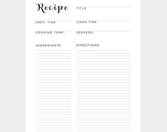 Blank Recipe Book, Blank Recipe Cards, Blank Recipe Binder, Recipe Binder, Recipe Card, A4 Recipe, A4 Binder, Recipes, Printable Recipe