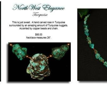 Turquoise & Rose Carved Pendant