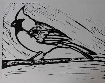 Cardinal Linoleum Block Print