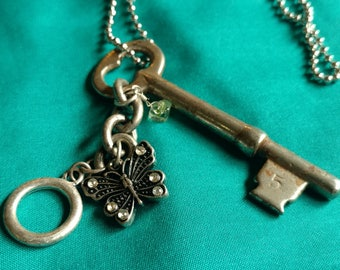 Vintage Skeleton Key Necklace with Butterfly Charm