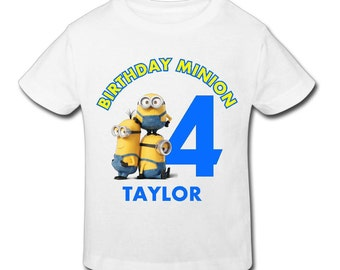 Minion T Shirt-Email us Name and size Personalized Birthday Birthday 1st, 2nd, 3rd, 4th, 5th Birthday-Fast Shipping!