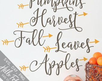 Fall Svg, Pumpkins Svg, Harvest Svg, Leaves Svg, Apples Svg, Dxf, Jpg, Svg files for Cricut, Svg files for Silhouette, Vector Art, Clip Art