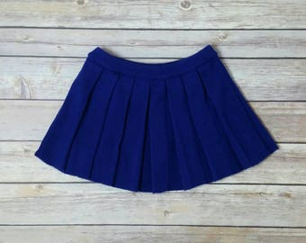 Toddler Girl Vintage Knit Pleated Mini Play Skirt Royal Blue Purple Knitted 70s 80s