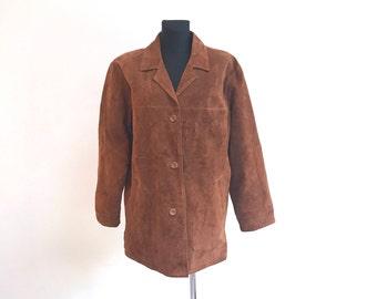 Vintage 80s Suede Leather JACKET size Women's Large Brown Classic Cardigan Street style Fancy Festival Shammy Jacket Boho Bohemian Jacket