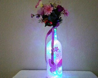 Butterfly and Daisies LED Bottle Light