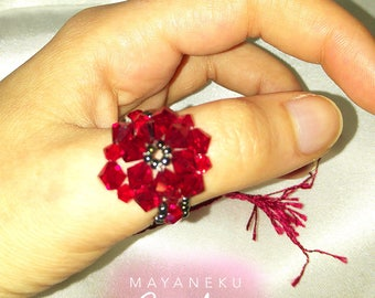 Charming Red Crystal Pearl ring
