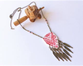 ethnic necklace native american,boho chic,bohemian,Bargello polymer clay red white,metal bronze feathers,hippy style,ooak woman gift