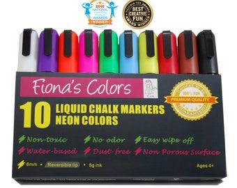 Fiona's Colors Non-Toxic Wet Erase Liquid Chalk Markers, 10 Assorted Neon Colors