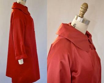 Red Satin 1950s Swing Coat. Evening. Opera Coat. M L XL
