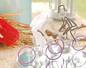 Wedding Cake Topper, Bicycle Wedding Cake Topper, Road Bike Cake Toppers, Mr and Mrs Road Bikes with Lavender Wheels, Handmade Cake Topper