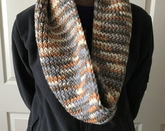 Multi color chunky knit infinity scarf