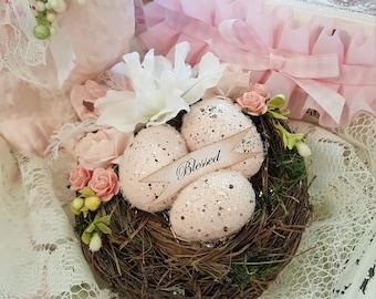 Shabby Pink Blessed Bird Nest