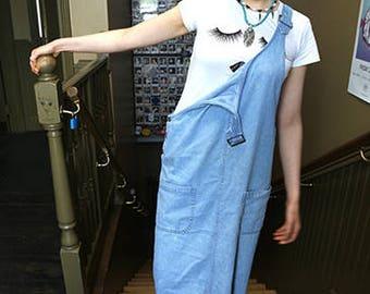 London Vintage Denim Dungaree Dress