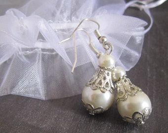 Beaded Pearl Earrings, Vintage Style, Bridal Jewelry, Bridesmaid Earrings, Shabby Chic, Pearl Wedding Jewelry, White Or Ivory Pearls