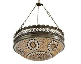C10042 Brown Handmade Turkish Mosaic Chandelier