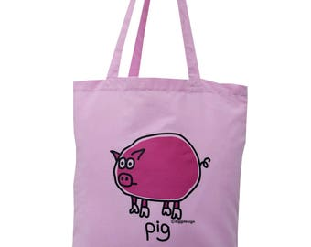 Cute oink PIG pink cotton Tote Bag