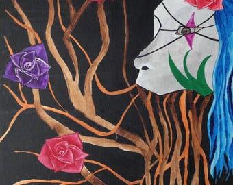Surrealistic Artwork, Flowers, Branches, blue hair