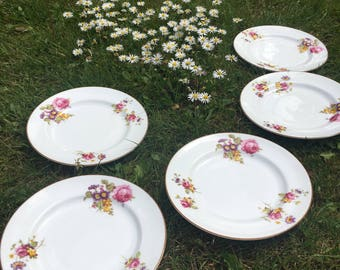 Vintage Royal Worcester set of 5 floral plates- Perfect for afternoon tea, Made in England, homeware.