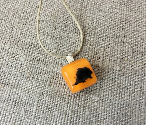 Porcupine Pendant Glass Jewelry Necklace of Fused Glass by Happy Owl - woodland critter black on orange cute kids jewelry